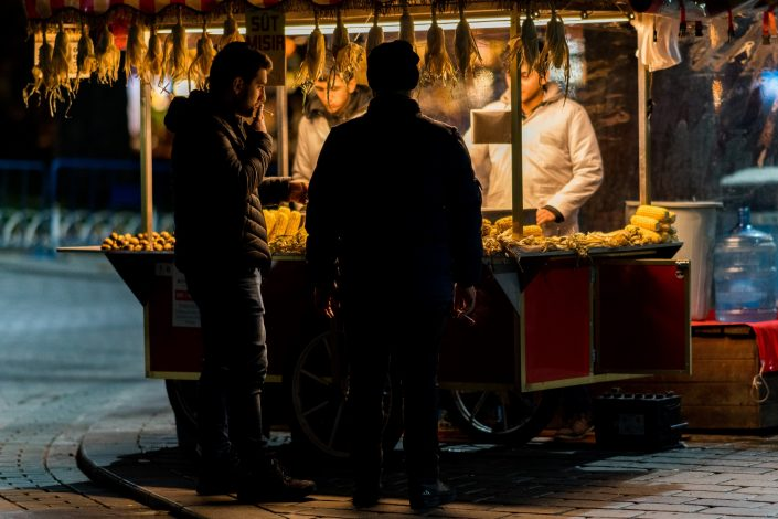 Corn street seller at night, Istanbul