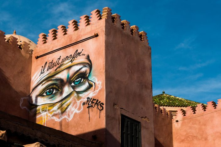 Street Mural painting of Moroccan women's eyes