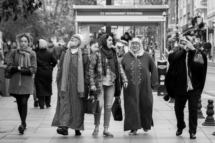 Group of people in Istanbul walking on the street
