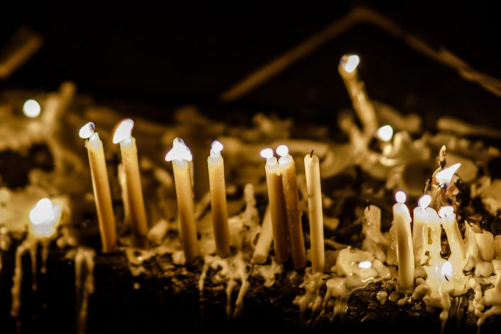 Candles lighted in the street during Ashura, Tehran