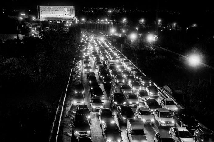 Traffic Jam by night in Tehran
