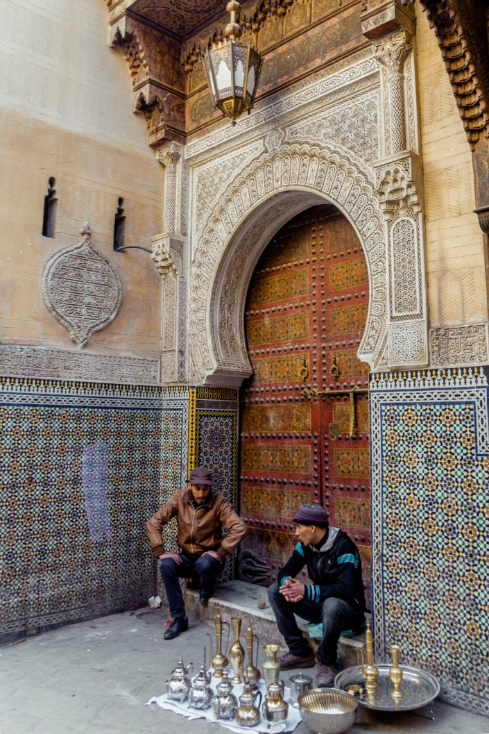 Fez Morrocan street vendors by Mosque door