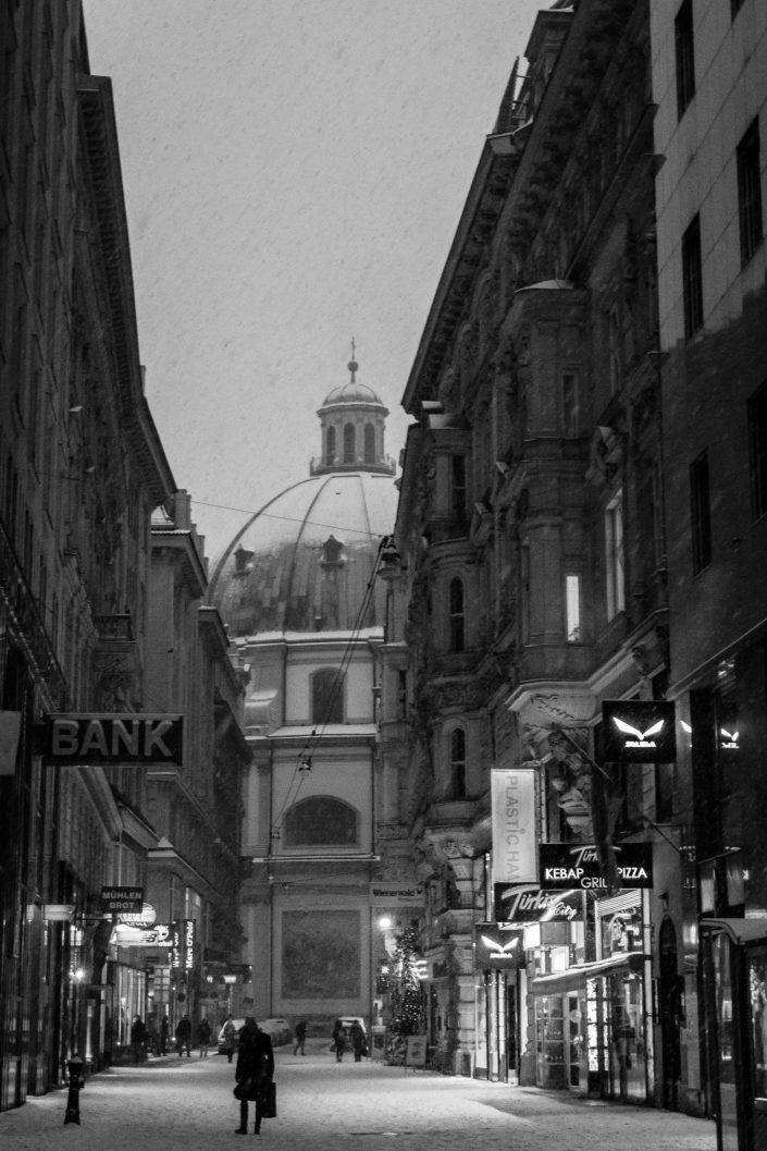 Snow in the center of Vienna, Austria