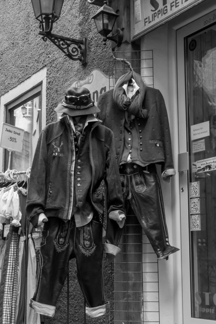 Traditional Austrian costumes hanging outside shop, Austria
