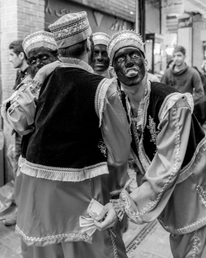 Hajji Firuz, painted black faces men performing, Nowruz, Iran