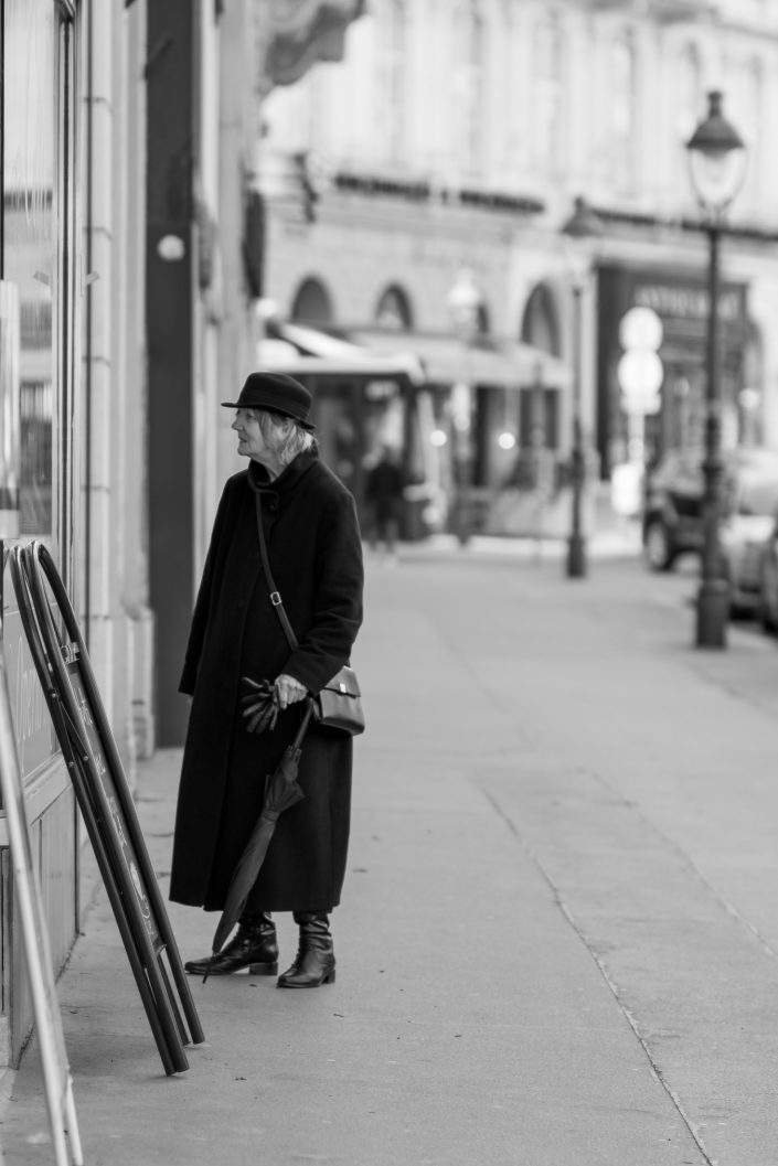 Woman wearing a hat and dressed elegantly in Winter, Vienna, Austria