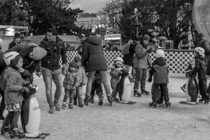 Families with small children, winter skate ring, Vienna, Austria