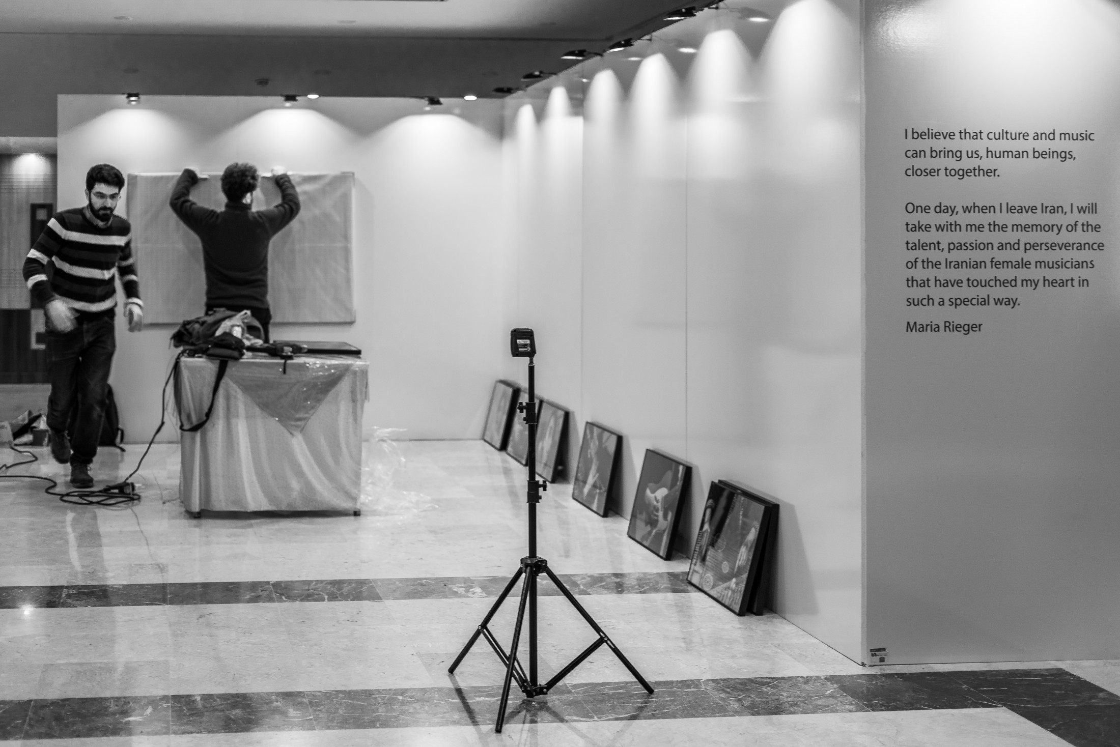 Setting up the photo exhibition